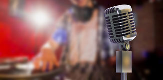 Composite image of digitally generated retro microphone on stand Stock Photo