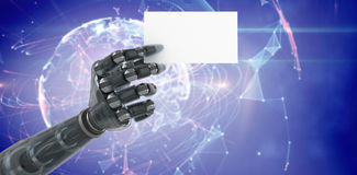 Composite image of digitally generated robotic arm holding blank placard 3d Royalty Free Stock Photo