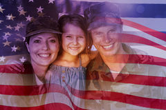 Composite image of digitally generated united states national flag. Digitally generated united states national flag against soldier couple reunited with their stock image