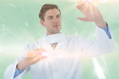 Composite image of doctor pretending to be doing experiment 3d Stock Image