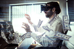Composite image of dollars flying. Dollars flying against businessman wearing virtual glasses Royalty Free Stock Image
