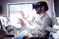 Composite image of dollars flying. Dollars flying against businessman wearing virtual glasses Stock Photos