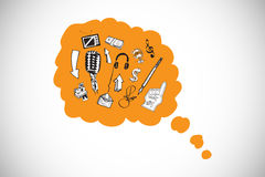 Composite image of doodles in orange thought bubble Stock Images