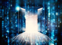 Composite image of doors opening to reveal beautiful sky Royalty Free Stock Images