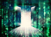 Composite image of doors opening to reveal beautiful sky Royalty Free Stock Image