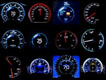 Composite image of dozen mileages speedometers. Composite image of dozen modern light car mileage dashboard, milage, speedometer isolated on a black background Stock Image