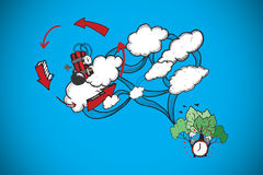 Composite image of dynamite and cloud computing doodle Royalty Free Stock Photo