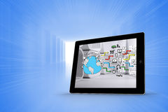 Composite image of earth brainstorm on tablet screen Stock Image