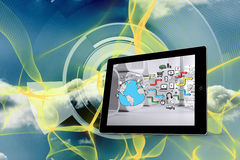 Composite image of earth brainstorm on tablet screen Stock Photos