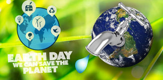 Composite image of earth with faucet. Earth with faucet against dew on the green grass Stock Photography