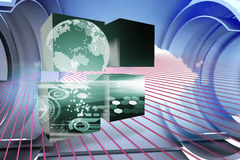 Composite image of earth interface on abstract screen Royalty Free Stock Image