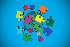 Composite image of earth and jigsaw pieces doodle Stock Photos