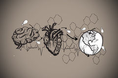 Composite image of earth lungs and heart doodle Royalty Free Stock Images
