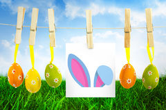 Composite image of easter bunny ears. Easter bunny ears against field of grass under blue sky Stock Photo