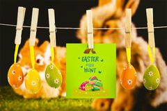 Composite image of easter egg hunt graphic Royalty Free Stock Photos
