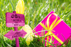 Composite image of easter egg hunt sign Royalty Free Stock Photos