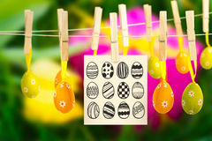 Composite image of easter eggs Stock Photo