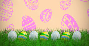 Composite image of easter eggs arranged side by side Royalty Free Stock Photography
