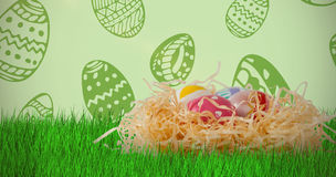 Composite image of easter eggs in creative paper nest Royalty Free Stock Image