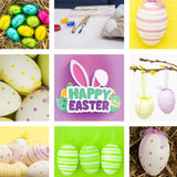Composite image of easter eggs grouped together on straw Royalty Free Stock Photo