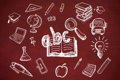 Composite image of education doodles. Education doodles against desk Stock Images