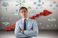 Composite image of elegant businessman with arms crossed in office Stock Photography