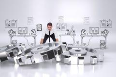 Composite image of elegant businessman lifting up something heavy Stock Photos