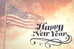 Composite image of elegant happy new year. Elegant happy new year against composite image of lens flare stock illustration