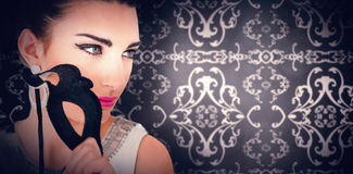 Composite image of elegant patterned wallpaper in grey Royalty Free Stock Photos