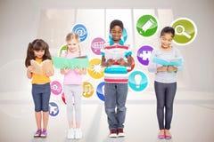 Composite image of elementary pupils reading Stock Image