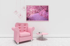Composite image of empty armchair by table against blank picture frame. Empty armchair by table against blank picture frame  against purple coloured forest Royalty Free Stock Image