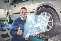 Composite image of engineering interface. Engineering interface against man smiling next to a car Stock Image