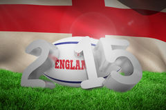 Composite image of england rugby 2015 message. England rugby 2015 message  against england flag against white background Royalty Free Stock Photo