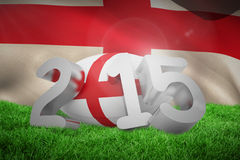 Composite image of england rugby 2015 message. England rugby 2015 message  against england flag against white background Stock Photography