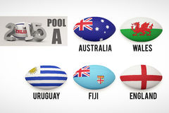Composite image of england rugby 2015 message. England rugby 2015 message  against rugby world cup pool a Stock Image