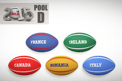 Composite image of england rugby 2015 message. England rugby 2015 message  against rugby world cup pool d Stock Image