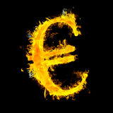 Composite image of euro sign on fire. Euro sign on fire  against black Royalty Free Stock Photography