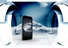 Composite image of euro sign on smartphone screen Royalty Free Stock Image