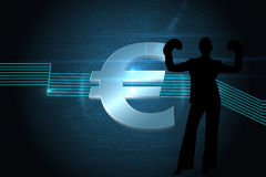 Composite image of euro sign on technical background Stock Images