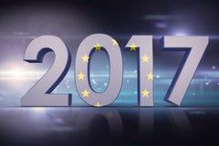 Composite image of european union flag. European union flag against black background with spark Stock Photo