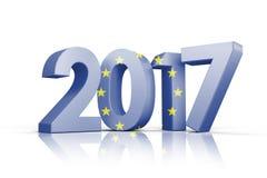 Composite image of european union flag. European union flag against illustration of new year number Stock Photo