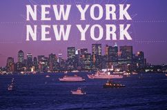 Composite image of evening Manhattan and New York City and boats in harbor with New York New York in a dusky sky Stock Photography
