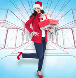Composite image of excited brunette in red coat holding many gifts Stock Photos