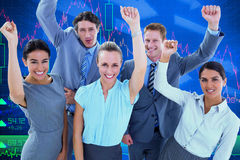 Composite image of excited business team cheering at camera Royalty Free Stock Photo
