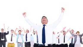 Composite image of excited businessman with glasses cheering Stock Photography