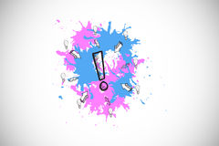 Composite image of exclamation mark on paint splashes Stock Photography