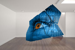 Composite image of eye and binary code on abstract screen Stock Photo