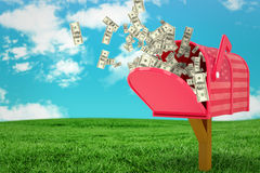 Composite image of falling dollars Stock Image