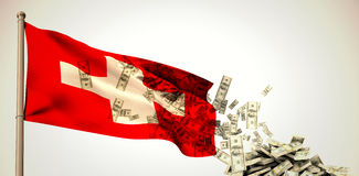Composite image of falling dollars Royalty Free Stock Image