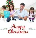 Composite image of family opening christmas gifts Stock Photos